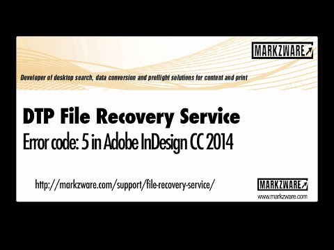 InDesign CC 2014 Error Code 5 – a FIX