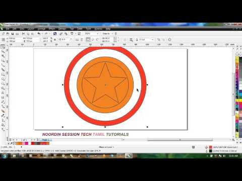 How to Draw CAPTAIN AMERICA LOGO in Corel Draw (2014) in tamil