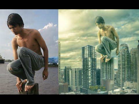 Photoshop Manipulation Photo Effects Editing Tutorials | Man on roof