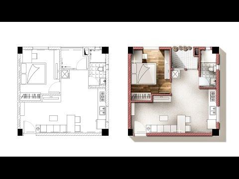Architecture plan render by photoshop